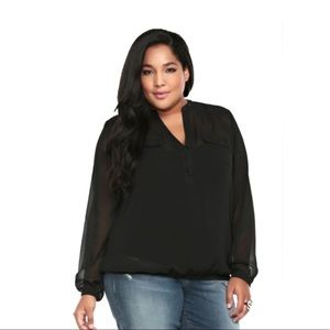 Torrid Sheer Studded Collar Long Sleeve Black Top